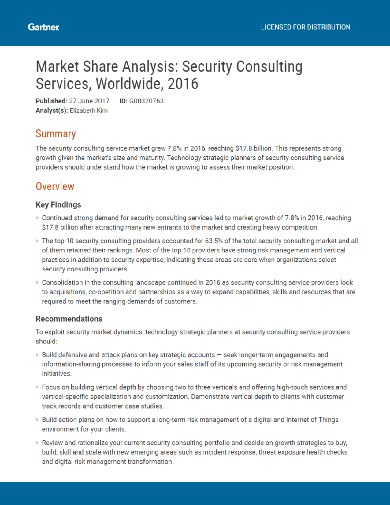 Gartner Market Share Analysis Security Consulting Services – Consulting Report